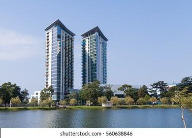 Batumi, Georgia - August 5, 2015: Two modern Hilton Hotel skyscrapers in Batumi, Georgia