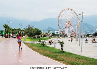 BATUMI, GEORGIA - August 6, 2016: Batumi boulevard with bicycle track in Adjara, Georgia