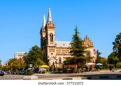 Batumi, Georgia. The Church of the Mother of God in Batumi, Georgia. Beautiful decoration with gothic revival design. Blue sky during the sunny day
