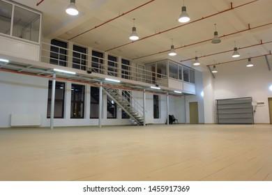 Batumi, Georgia, February 1, 2019: Batumi Drama Theatre Art Studio Interior with mezzanine at night