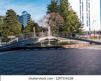 BATUMI, GEORGIA- January 11, 2019: Traveling in beautiful modern Batumi.Batumi boulevard. Georgia