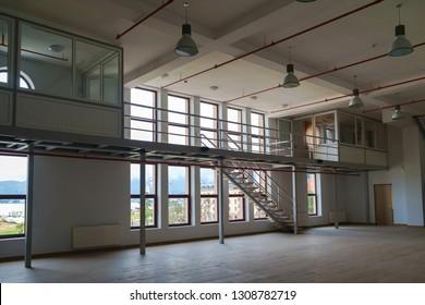 Batumi, Georgia, January 6, 2019: Batumi Drama theatre studio interior, large empty room with mezzanine
