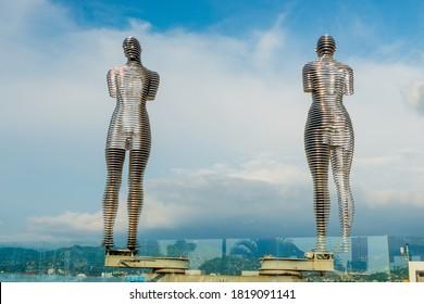 Batumi, Georgia  - Jine 14, 2018: Sculpture of Ali and Nino on the embankment of Batumi