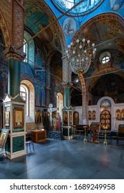 BATUMI, GEORGIA - JULY 20, 2015: Interior of Saint Nicholas orthodox church in Batumi.