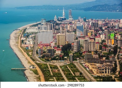 BATUMI, GEORGIA - JULY 20: Aerial view of seaside city on Black Sea coast, Batumi, Georgia.