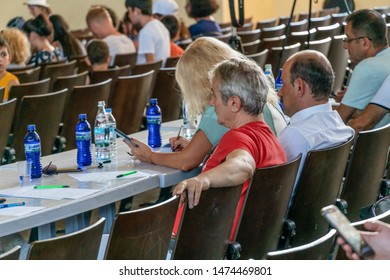 Batumi, Georgia - July 3 2019: jury at a concert in Batumi. The jury sits with its back to the camera.