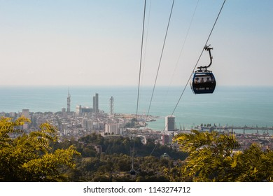 Batumi, Georgia / June 13, 2018: cable car. It was opened in 2013. The length of the road is slightly more than 2.5 km. The upper station is located on Mount Feria, at a height of just over 250 m