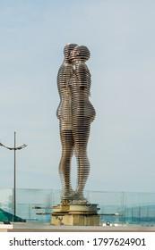 Batumi, Georgia  - June 14, 2018: Sculpture of Ali and Nino on the embankment of Batumi