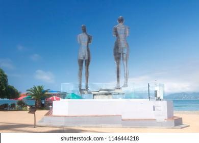 Batumi, Georgia - June 30, 2018: The statue of Ali and Nino on the embankment of Batumi. Georgia, Symbol of Batumi