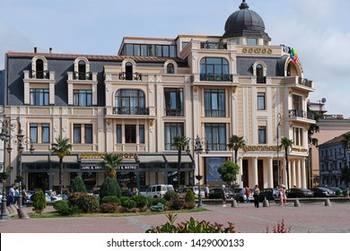 BATUMI, GEORGIA - June 5, 2019: The old building of the former Post Office of Batumi is located on the square of Europe. Beautiful historic building facade view