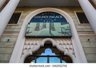 BATUMI, GEORGIA - MARCH 17, 2018: Exterior of the Golden Palace Hotel and Casino in the historical part of the city