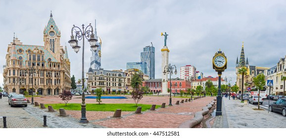 BATUMI, GEORGIA - MAY 24, 2016: Panorama of the Europe Square with Medea monument, beautiful mansions with towers and old lamp clock, on May 24 in Batumi.