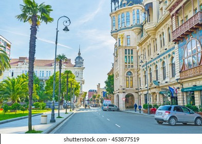 BATUMI, GEORGIA - MAY 26, 2016: The central city streets with the luxury mansions and green palms, on May 26 in Batumi.
