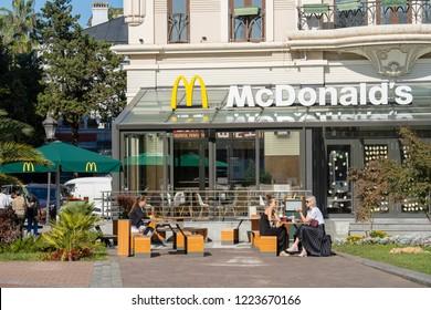 BATUMI, GEORGIA - NOVEMBER 02, 2018 : Popular restaurant McDonald in the center of Batumi, Georgia