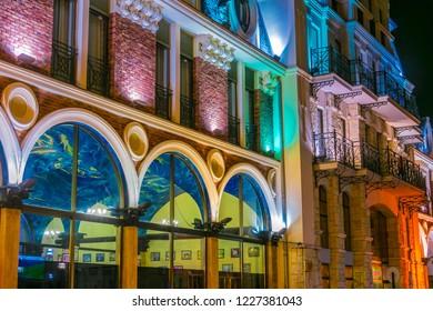 BATUMI, GEORGIA - OCT 28, 2018: Architecture of Batumi Piazza in the center of Batumi, Georgia by night
