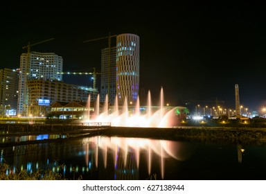 Batumi, Georgia - October 03, 2016: Dancing Fountains on Ardagani Lake. Light and musical fountains installed back in 2009