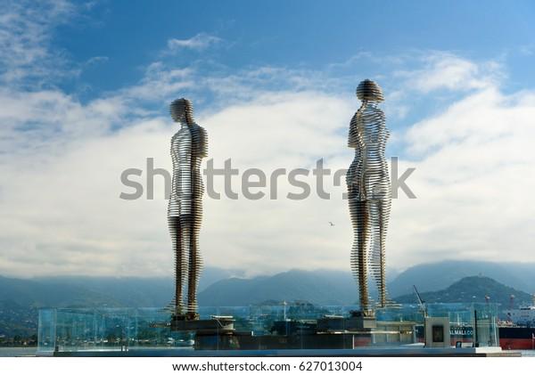 Batumi, Georgia - October 04, 2016: Moving sculpture Ali and Nino. Statue of eternal love and understanding between nations. It is work of Georgian artist and sculptor Tamar Kvesitadze