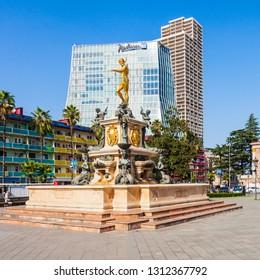 BATUMI, GEORGIA - SEPTEMBER 21, 2015: Radisson Blu Hotel and Batumi Drama Theatre buildings in Batumi.