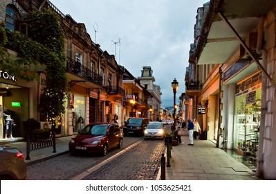 Batumi, Georgia - September 26, 2017:  old city of Batumi. Night photo with beautiful lighting. Adjara, Georgia
