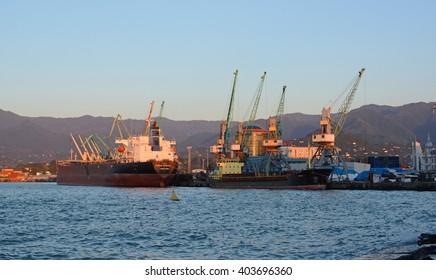 Batumi, Georgia - September 27, 2013: Batumi industrial sea port with ships and cranes, Black Sea harbour.