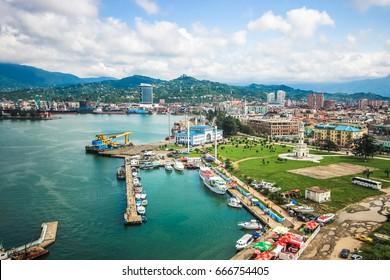 BATUMI, GEORGIA-JULY 6 2015 Batumi Sea Port with boats and passenger terminal. Georgia