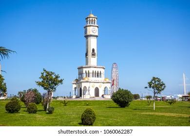 Batumi lighthouse on the Batumi Seafront Promenade in the sunny day, Adjara, Georgia.