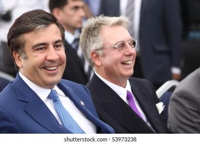 BATUMI - MAY 27: Georgia President Mikheil Saakashvili laid the foundation of Forum Trade Center on May 27, 2010 in Batumi, Georgia.