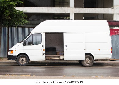 Batumi/Georgia June 19. 2017 White van Ford Transit in the city street. - Image