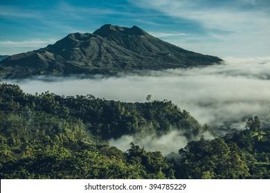 Batur volcano and Agung mountain from Kintamani, Bali, Indonesia