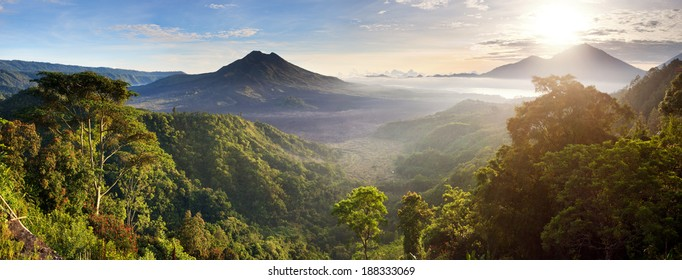 Batur volcano and Agung mountain panoramic view at sunrise from Kintamani, Bali, Indonesia