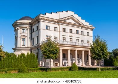 BATURIN, UKRAINE - AUGUST 29, 2016: Palace of Kirill Razumovsky (1803) located in historic Baturyn town - is a part of complex Hetmans' Capital. Chernihiv province, Baturyn, Ukraine.