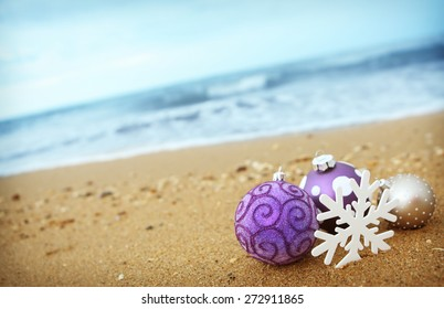 Baubles on beach