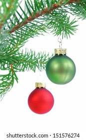 Baubles on Christmas tree isolated on white