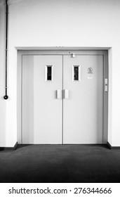 Bauhaus Dessau lift with a dynamic black and white transfer.