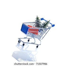 Baum a house in shopping cart on a white background