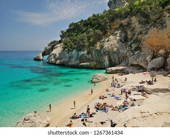 Baunei,IT - CIRCA MAY 2018 - Cala Goloritze is one of the most famous beaches in Sardinia, It can be reached throug a trekking path in the mountains or by boat.