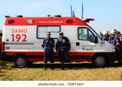 BAURU, BRAZIL - June 13, 2015 - Brazilian Emergency Rescue Service (SAMU) standing by for a possible call.