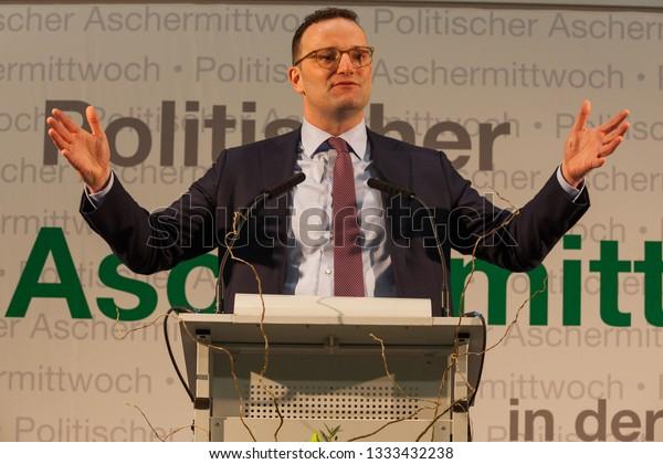 Bautzen Germany - March 06,2019: political ash wednesday (politischer Aschermittwoch) with Jens Spahn, Hermann Winkler, Marko Schiemann, Stanislaw  Tillich,Matthias Roessler