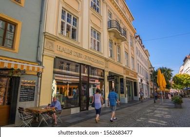 Bautzen, Germany - September 1, 2019: Shopping street with sidewalk restaurants, Reichenstrasse in the historic Old town of Bautzen in Upper Lusatia