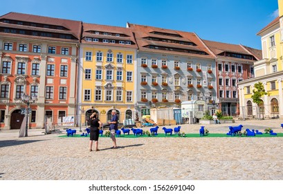 Bautzen, Germany - September 1, 2019: Installation in the square in front of the Town Hall of Bautzen in the Upper Lusatia, Saxony