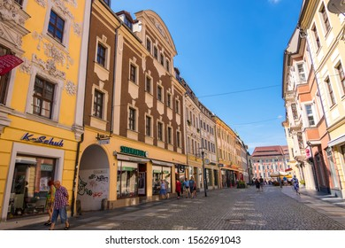 Bautzen, Germany - September 1, 2019: Shopping pedestrian street in the historic Old town of Bautzen in the Upper Lusatia, Saxony