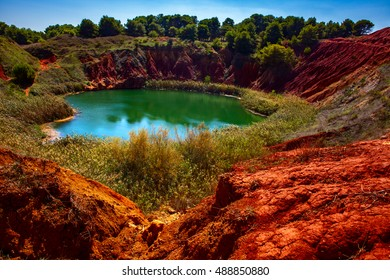 Bauxite Quarry with Lake at Otranto, Apulia