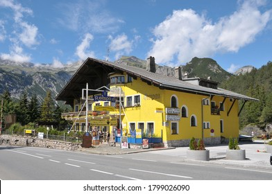 Bavaria, Germany - August 16, 2011: View of a hostel and restaurant in Fernpass, on the road to Fussen, a sunny day