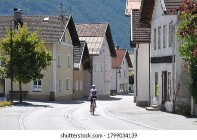 Bavaria, Germany - August 16, 2011: Scene with lonely streets and old buildings in the urban center of the city of Fussen