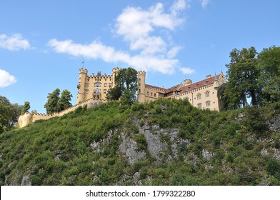 Bavaria, Germany - August 16, 2011: Perspective view of Hohenschwangau Castle in the village of Schwangau, a sunny day