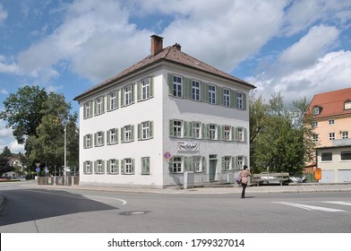 Bavaria, Germany - August 16, 2011: Old and elegant building in a wide streets on the urban center of the city of Fussen