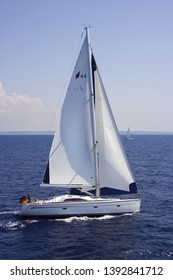 Bavaria, Germany- August 20,2008: 44 feet Bavaria sail yacht is sailing in deep blue sea, side view