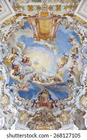 BAVARIA, GERMANY - DECEMBER 21, 2012: World heritage wall and ceiling frescoes of wieskirche church in bavaria, Germany, Europe