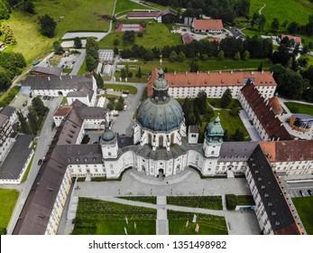 Bavaria, Germany - July 10, 2018: Ettal Abbey is a Benedictine monastery in the village of Ettal close to Oberammergau and Garmisch-Partenkirchen.