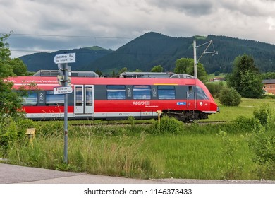 Bavaria, Germany June 10, 2018: Regio trains are short- and medium distance trains in Germany. DB is the sign of the Deutsche Bahn AG.
